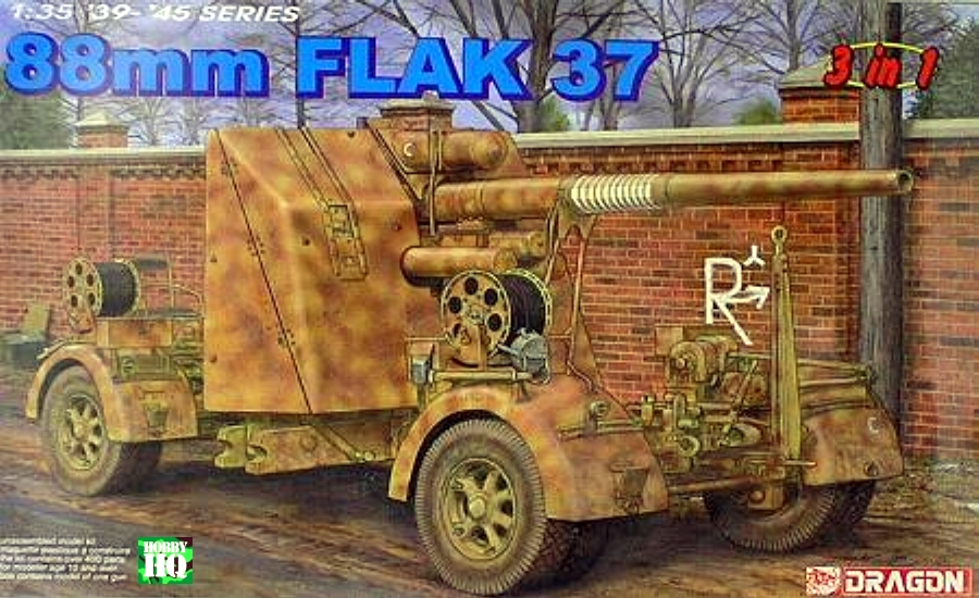 88mm Flak 18/36/37 Gun with trailer (3 in 1 kit)