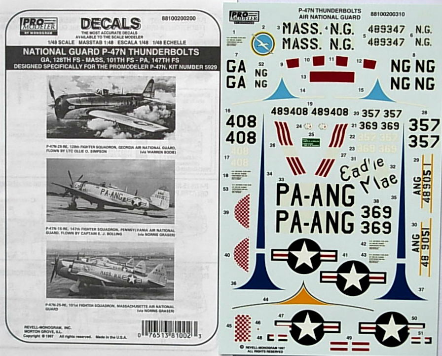 National Guard P-47N Thunderbolts (3 a/c) decals