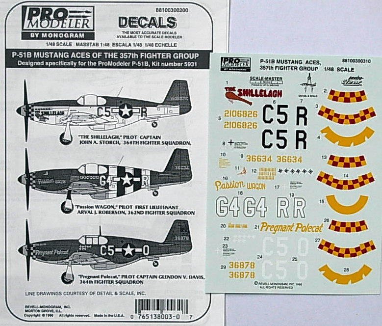 P-51B Mustang Aces of the 357th FG (3 a/c) decals