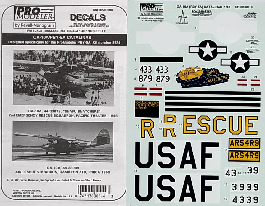 "OA-10A ""SNAFU Snatchers"" & PBY-5A decals"