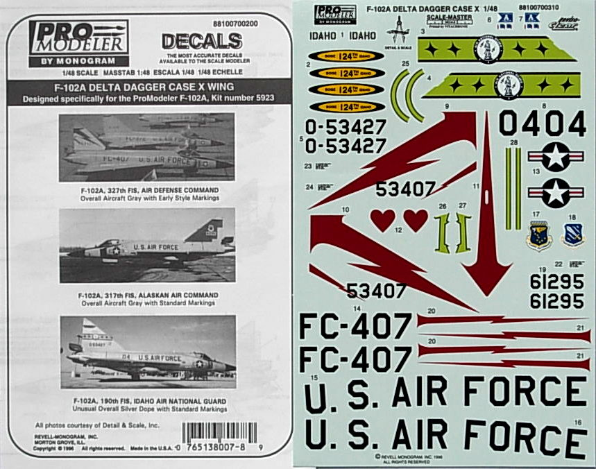 F-102 Dagger Case X Wing (3 a/c) Decals