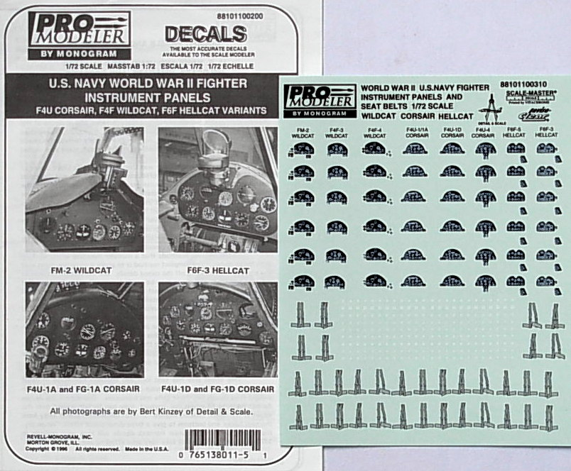 Fighter Instrument Panels ~ F4U ~ F4F ~ & F6F. Decals