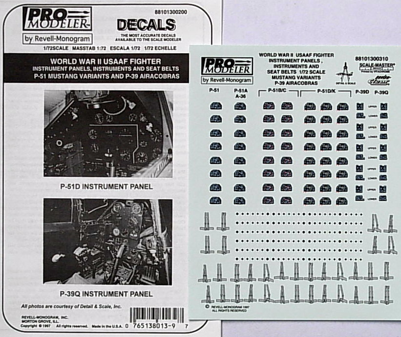 Instrument Panels & Seat Belts. P-51B & P-38Q decals